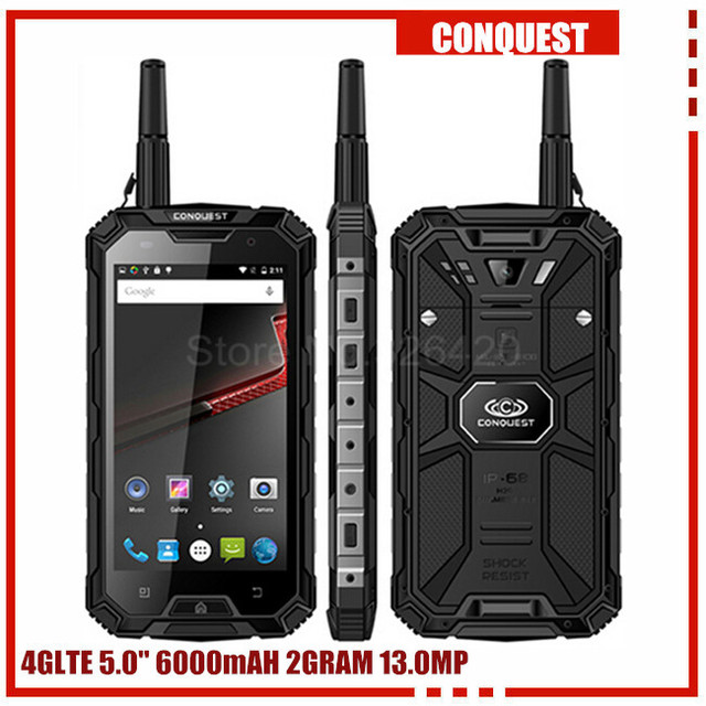 100% Original Conquest S8 3GB RAM 32GB ROM ip68 Rugged waterproof phone 6000mAH Quad Core 5.0Inch GPS 4G LTE FDD PTT S6 runbo q5