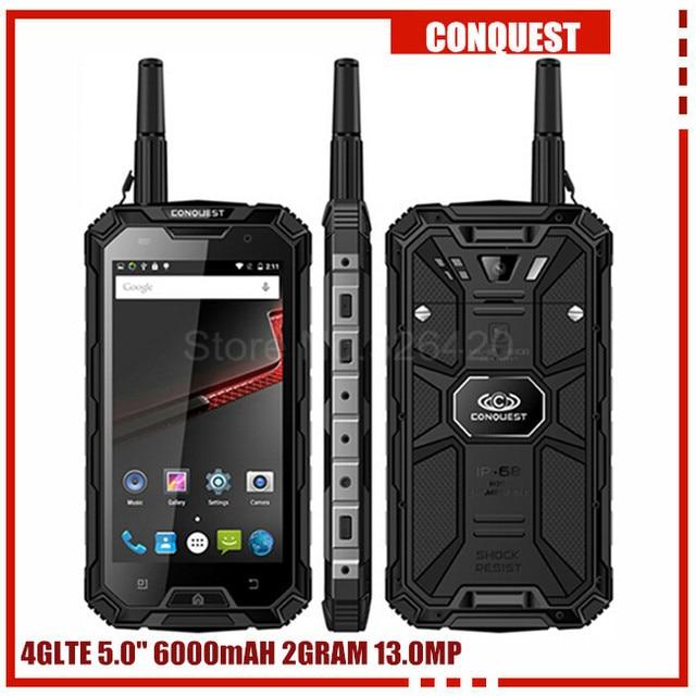100% Original Conquest S8 3GB RAM 32GB ROM ip68 Rugged waterproof phone 6000mAH Quad Core 5.0Inch GPS 4G LTE FDD PTT S6 runbo q5
