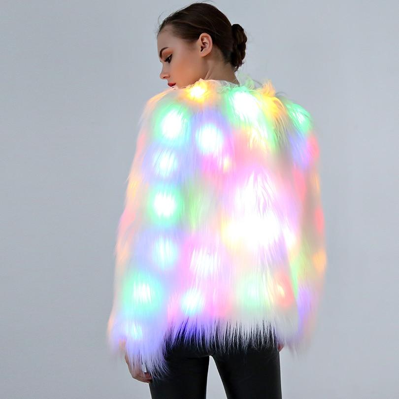 LED Light Winter Women Faux Fur Coat Christmas Festival Outwear Warm Fur Coats Jacket For Female Casual Ladies Outerwear Nightcl