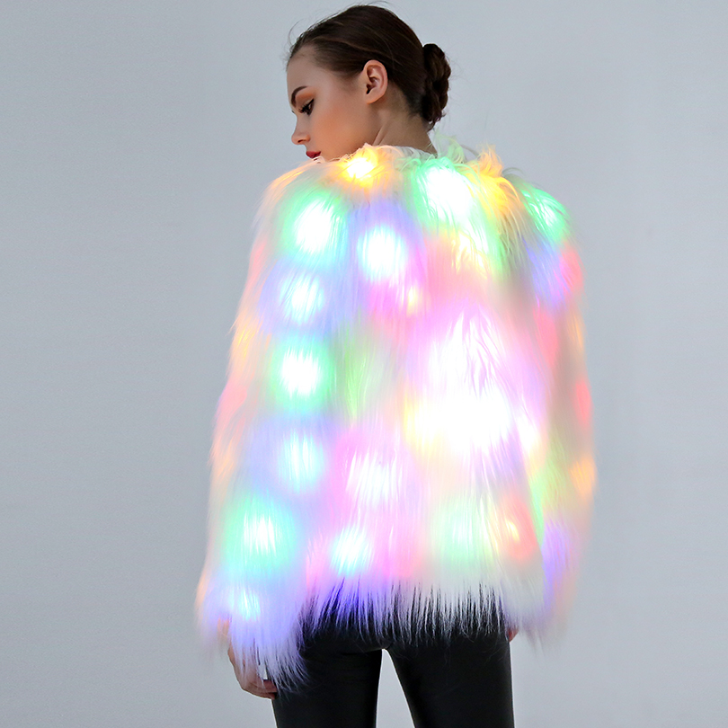 Winter Women LED Light Faux Fur Coat Christmas Halloween Outwear Warm Fur Coats Jacket Female Casual Nightclub Stage Coat