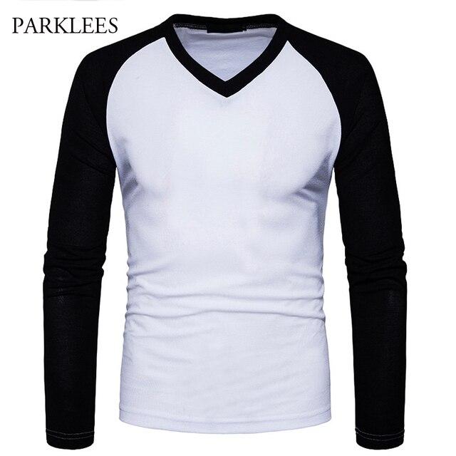 a45b4a6dbd9d8 Manga Raglan T Shirt Homens Camiseta Homme 2017 Nova Tendência Preto e  Branco Mens T Camisas