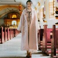 [AIGYPTOS PTER]Original Design Autumn Winter Women Vintage Romantic Elegant Ladies Pink Plus Size Loose Long Maxi Wool Coat