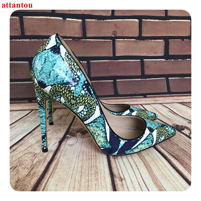 2018 Sexy pumps art blue printed women high heels plus Size 43 44 slip-on pointed toe female dress shoes stiletto single shoes newest flock blade heels shoes 2018 pointed toe slip on women platform pumps sexy metal heels wedding party dress shoes