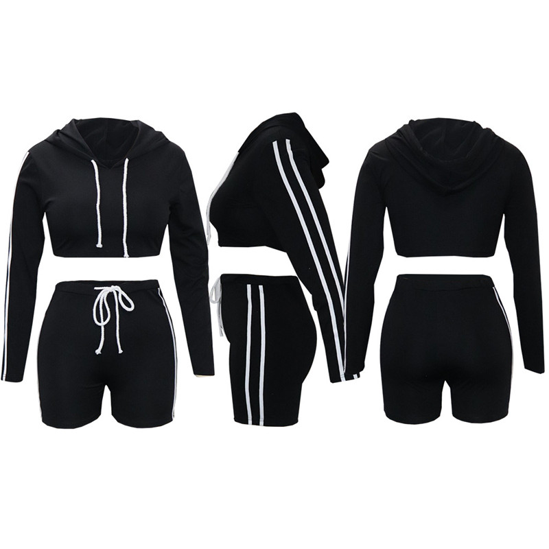 Adogirl Side Stripe Women Tracksuit Long Sleeve Hooded Sweatshirts Crop Top Pants Casual Two Piece Set Sporting Suits Outfits in Women 39 s Sets from Women 39 s Clothing