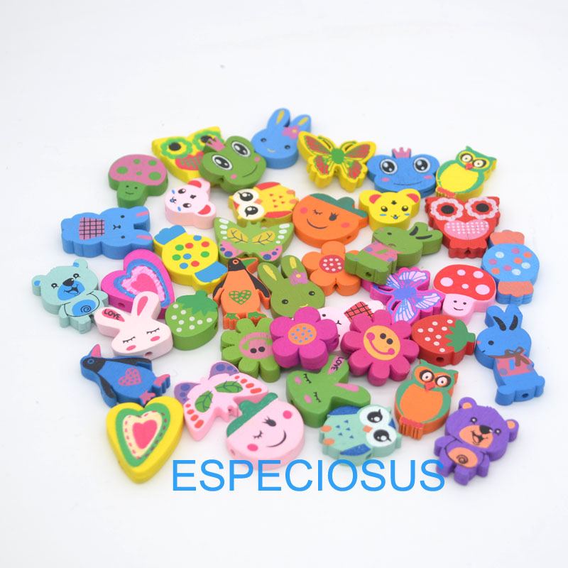 20pcs DIY Jewelry Fittings Children Handcraft Department bracelet accessories Mixed Shape Cartoon Wooden beads Animals mix color