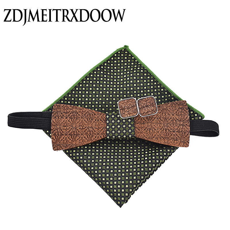 Men's Casual Wooden Ties Classic Party Printing Plaid Dots Man Tie For Wedding Business Male Tie Cufflinks Hanky Set