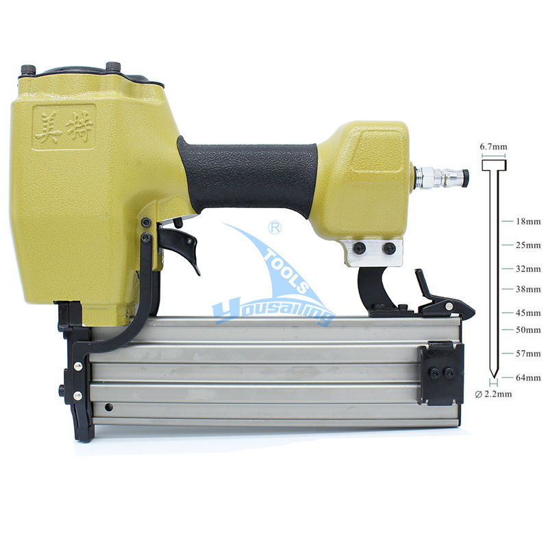 High Quality ST64 T-type Industrial Pneumatic Nail Gun Air Stapler Gun Pneumatic Nailer Gun 18-64mm Suit for Trunking/Concrete high quality 425kl u type pneumatic nail gun air stapler tools pneumatic brad nailer gun 16 25mm