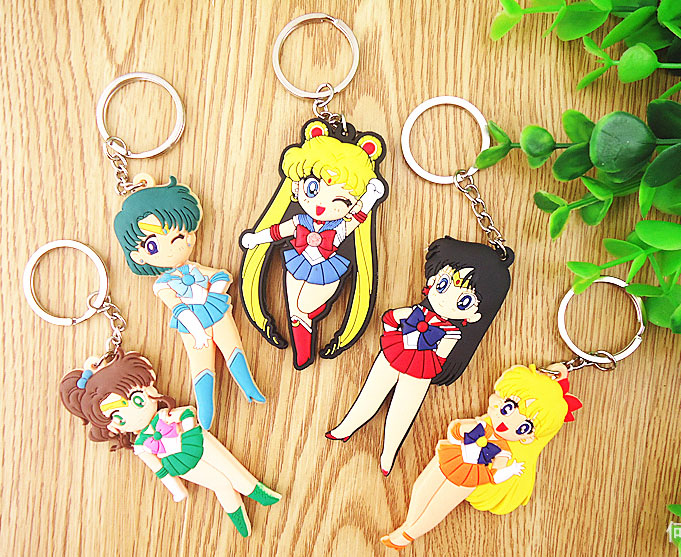7cm 5pcs/set Kawaii Beautiful Anime Cartoon Sailor Moon Mercury Mars Jupiter Venus PVC Two-sided Figure Keychains Pendants Toys sailor moon capsule communication instrument machine accessory gashapon figure anime toy full set 100