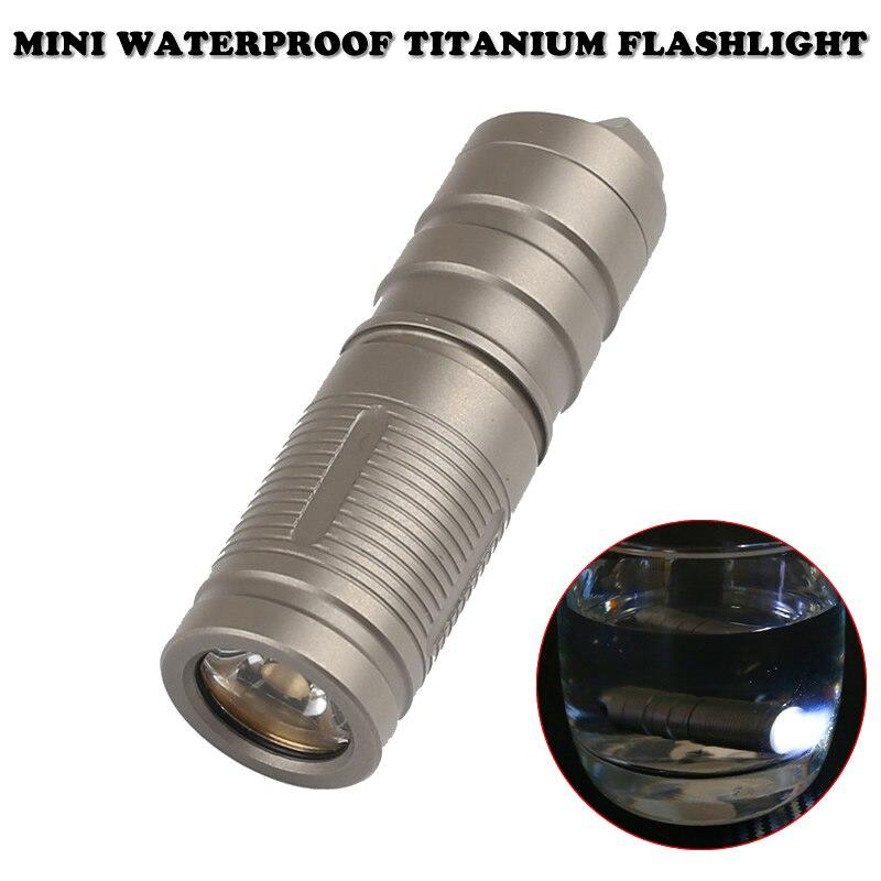 Mini Waterproof Titanium Self Defense Flashlight Portable Rechargeable Emergency Pocket Light Outdoor Survival EDC Tool