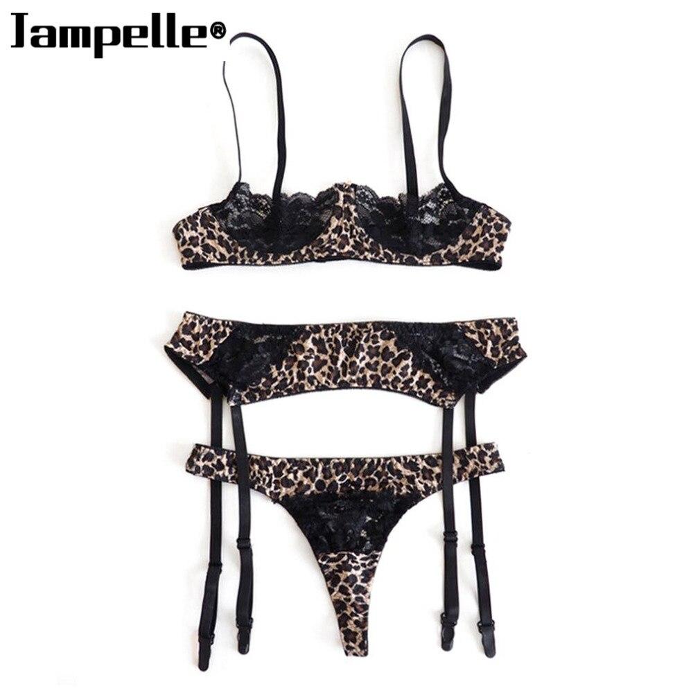 Super Sexy Women 3PCS/SET Lingerie Sets Ultra Thin Lace Blac