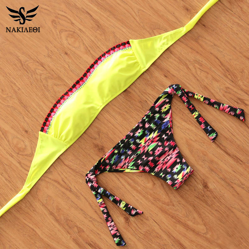 NAKIAEOI 2017 Sexy Bikinis Women Swimwear Push Up Swimsuit Bandeau Brazilian Bikini Set Summer Beach Bathing Suits Swim Wear 2017 floral brazilian bikinis women swimwear swimsuit push up bikini set removeable top beach bathing suits swim wear fd81556