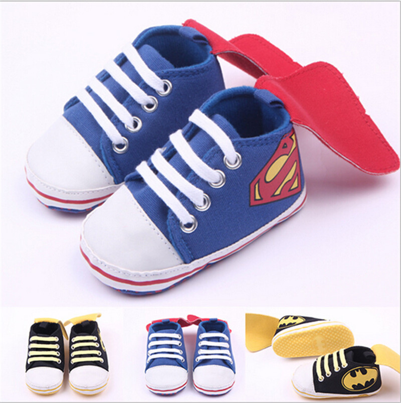 2015 Fashion Baby Sport Shoes Superman Toddler Antislip Shoes Sneakers Baby Infants Cotton Bebe First Walkers