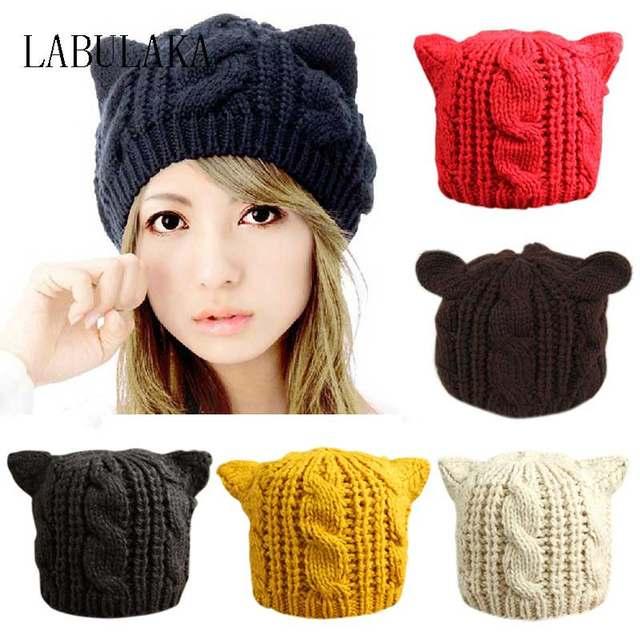 Tienda Online Encantador gato orejas Beanie mujeres sombrero ...