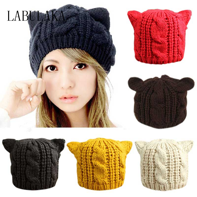 Lovely Cat Ears Beanie Women Hat Warm Solid Color Hip-hop Cap Lady Girls Cute Winter Knitted Skullies Beanies Casual Warm Caps