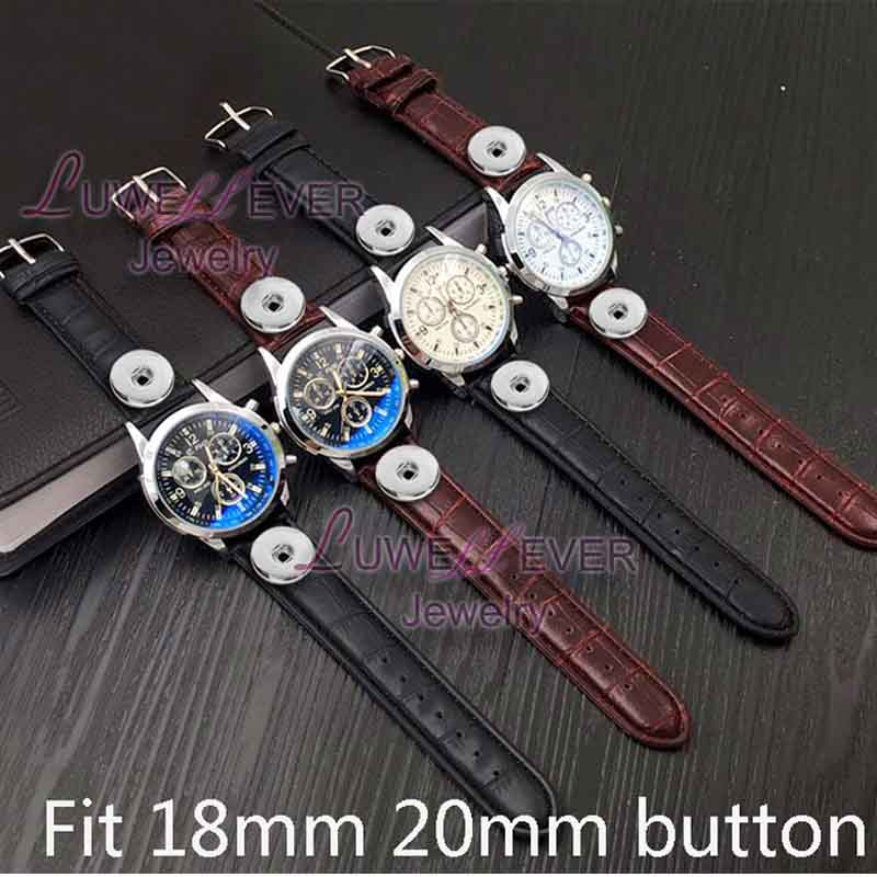 Fake Three Needle 003 Charm Bracelets Bracelet One Direction Retro Watch PU Leather Snap Button Bracelet Fit 18mm button