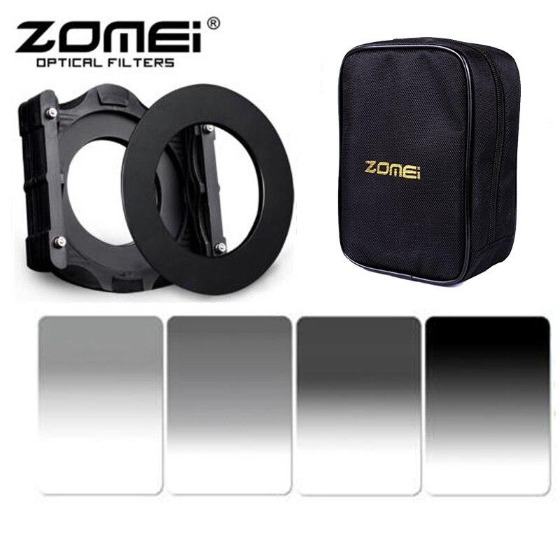 Prix pour Zomei 100*150mm Place Progressive Gris Filtre ND2 ND4 ND8 ND16 + 67/72/77/82/86/95mm adaptateur ring + Support + 16 Cas De Fente Pour Cokin Z Lee