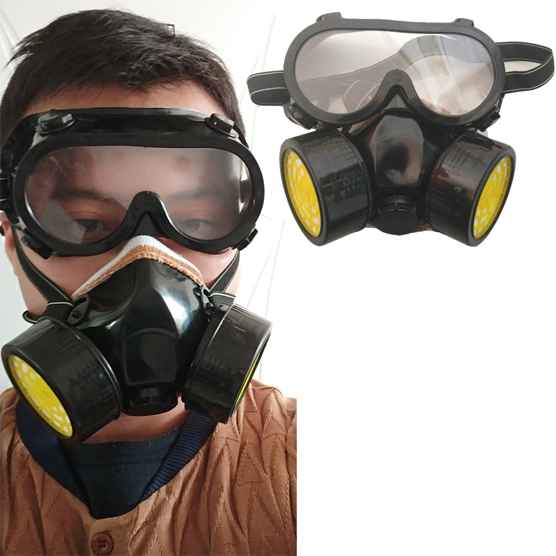 Respirator gas mask chemical protective mask +goggles activated carbon anti-dust poison pesticide spray painting formaldehyde бусы из янтаря солнечные ежики