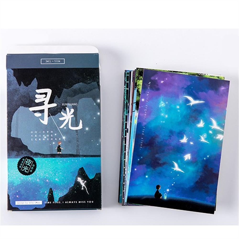30pcs/pack  Carton Noctilucous Greeting Card Postcards Birthday  Bussiness Gift cards set message card