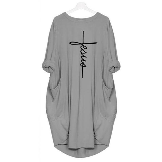 Pocket Faith Letters Print Dress for Women Plus Size Women Dress Tops Vestidos Female Summer Dress 2019 New Arrival Dropshipping 5