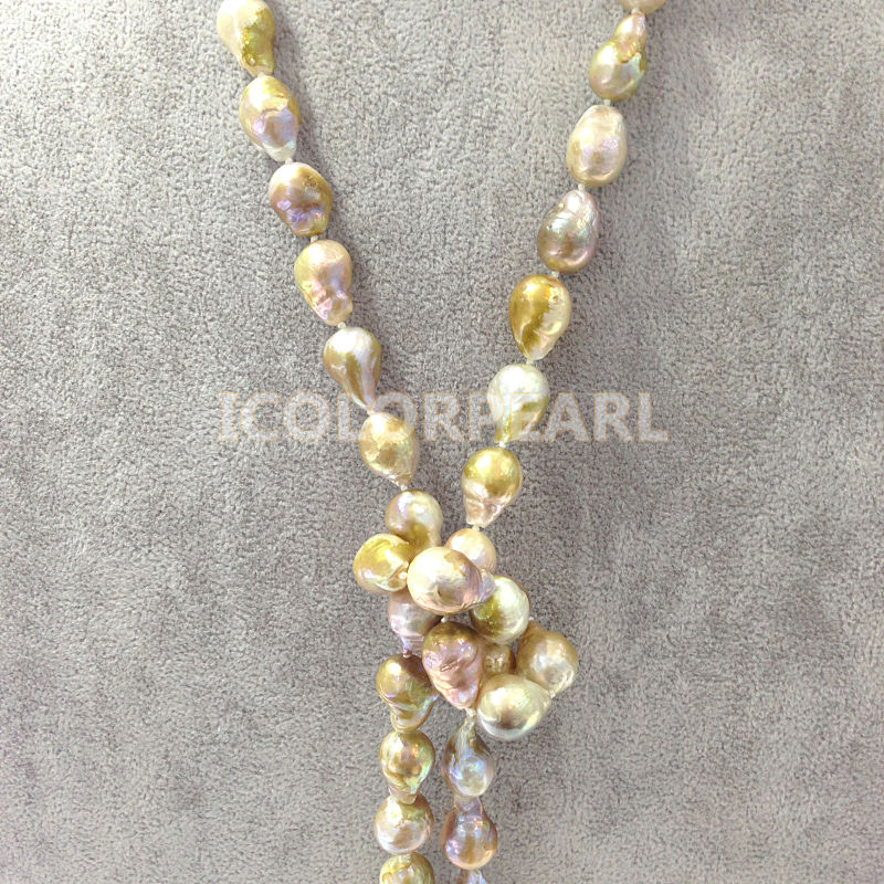 WEICOLOR populaire 125 cm Long 10-12mm goutte d'eau/irrégulière naturel perle d'eau douce bijoux pull collier. - 4