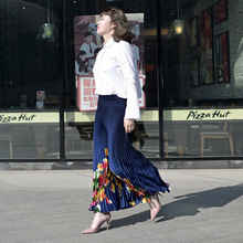 Spring And Summer Print Flowers Elastic Waist Retro Pleated Slim Long Skirt Women Saia Maxi Floral Empire Skirts