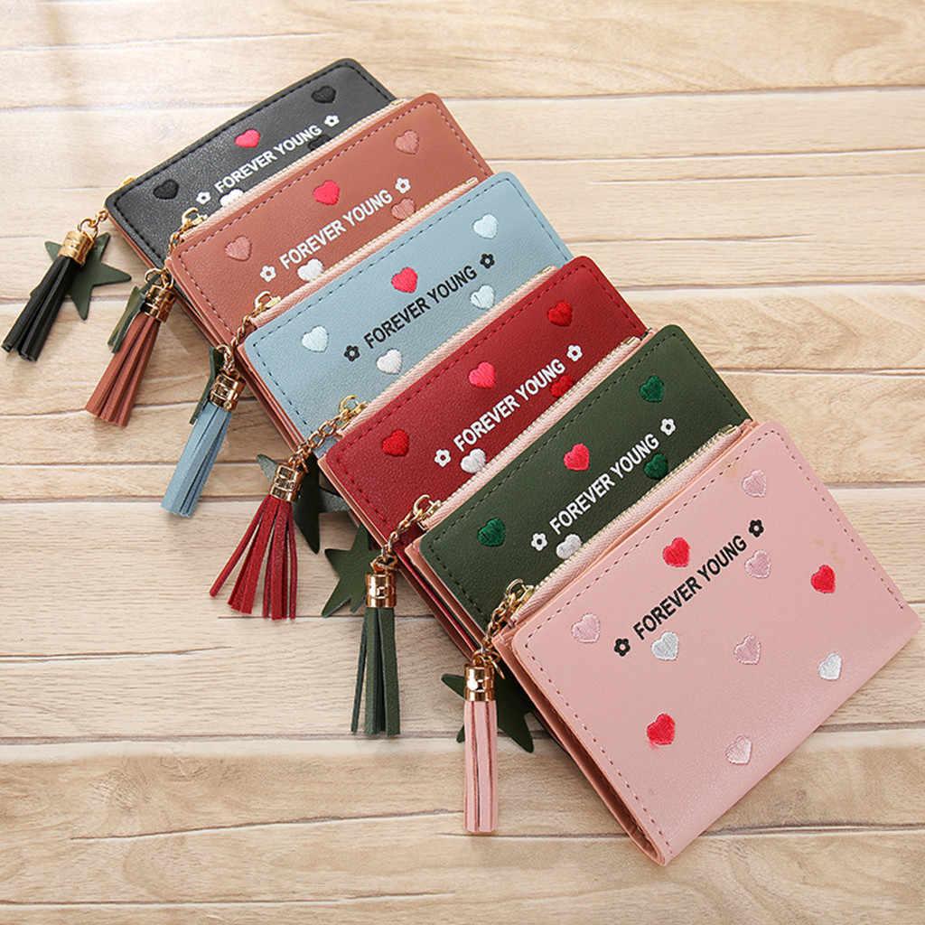 Мини женские кошельки короткие женские портмоне держатель кредитной карты на молнии Короткие корейские вышитые нитки Любовь кисточкой # JX