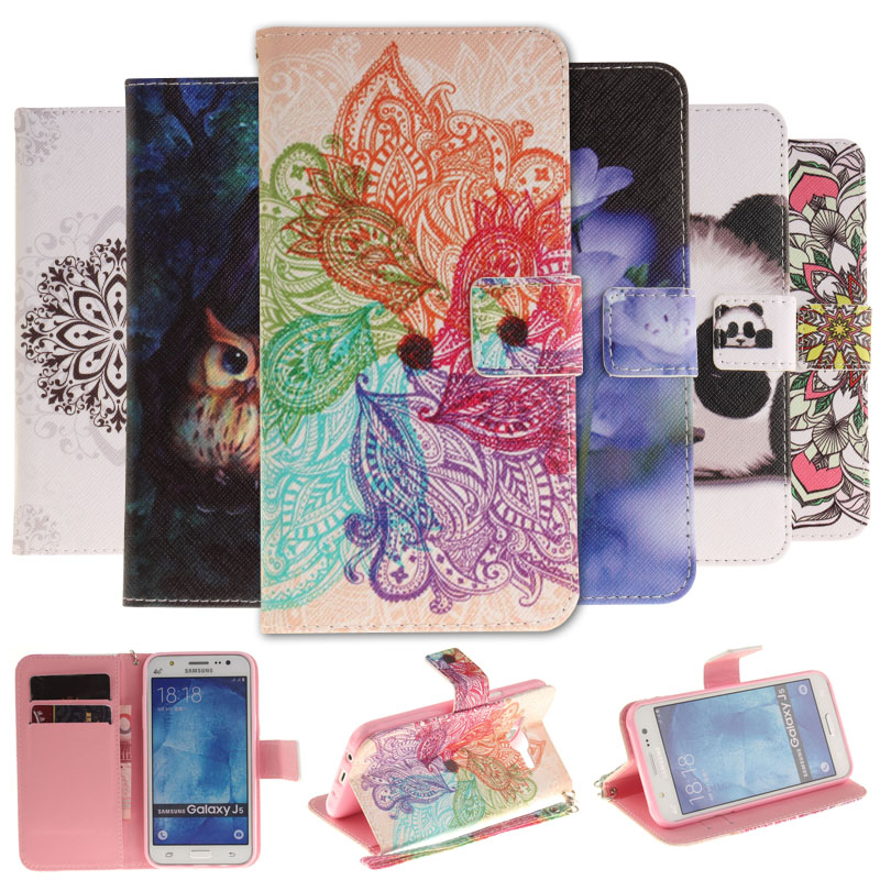 Colorful Painting Stand Flip Leather Case For Samsung Galaxy J1 J3 J5 2016 J320 J510 /J5 Prime /J3 2016 Mobile Phone Cover Cases
