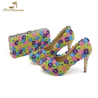 2018 Beautiful Lace Flower Bridesmaid Shoes with Clutch Bag Banquet Girl Birthday Party Pumps Handmade Women Shoes Matching Bag