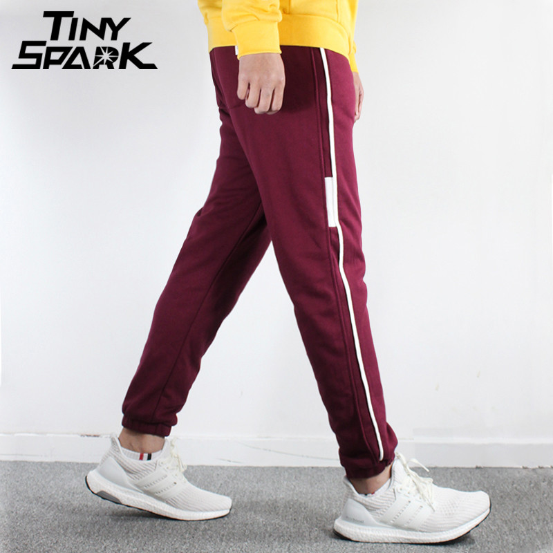 Side Striped Joggers Pant Men Cotton Thick Sweat Pants Warm Trousers Mens Clothing 2018 Autumn Winter Sweatpant Casual Harajuku