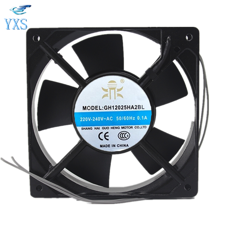 GH12025HA2BL AC 220V-240V 0.1A 50/60HZ 12025 12CM 120*120*25mm 2 Wires Cabinet Mute Cooling Fan free delivery bt220 p n 12025 b2h 220 240 v 19 w 12025 double ball bearing cooling fans