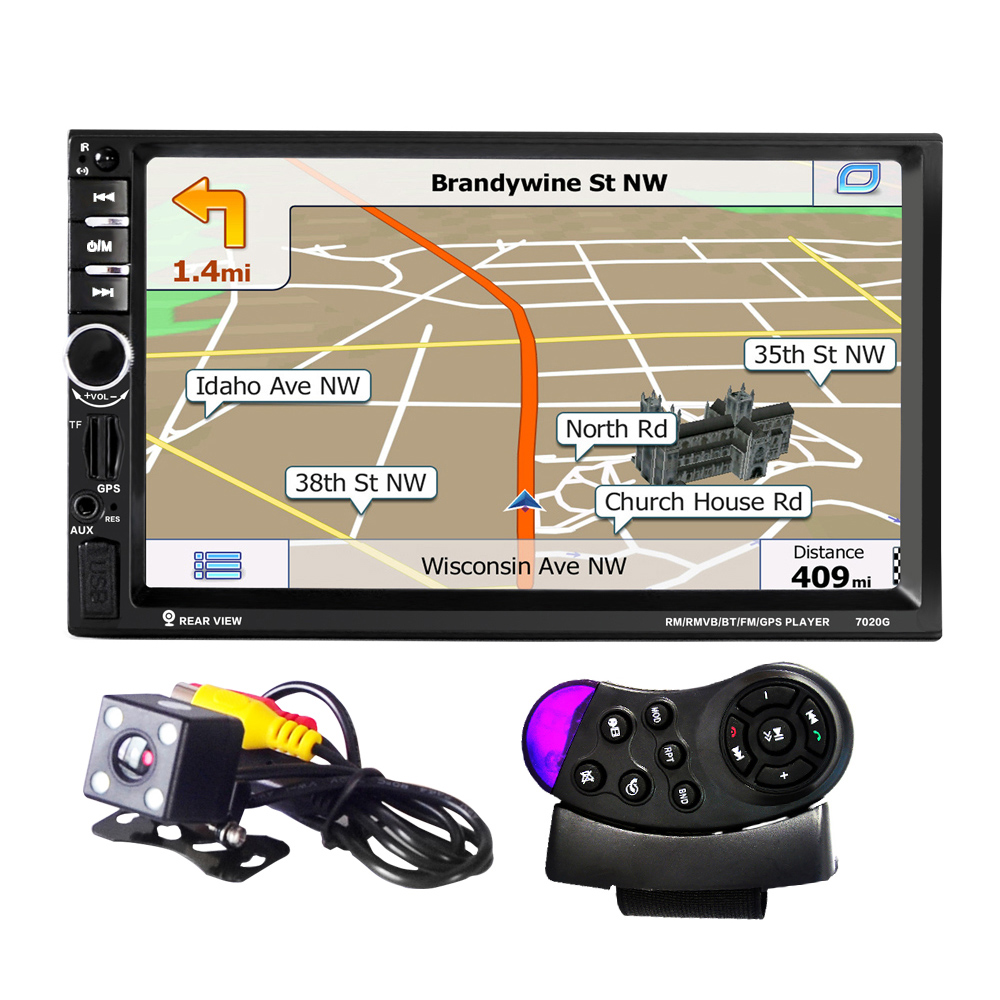 <font><b>7020G</b></font> 7 inch 1080P Car Audio Player MP5 Player Bluetooth Call GPS Navigation Rearview Camera Remote Control FM USB TF AUX image