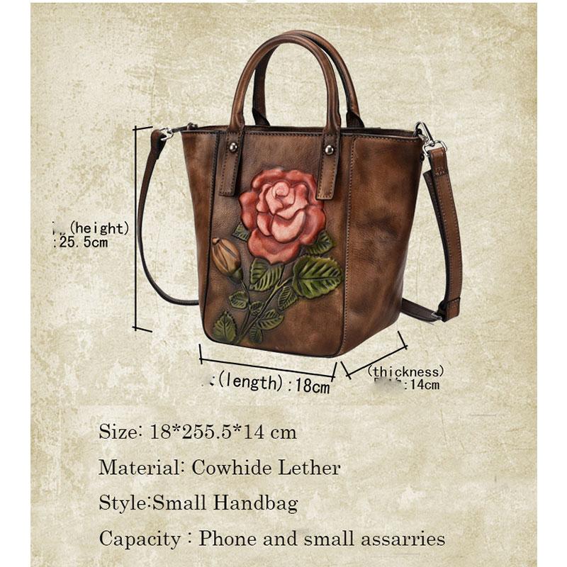 Petits Emballages De black brown En Femmes Messagers Cru Véritable Sac Main Cuir Fleur Femelle 3d D'origine Red À Mini Sacs f7ygb6vY