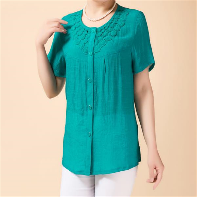 Woman Summer Plus Size O-neck Solid Short Single-breasted Slim Cotton Shirts Female Oversized Cardigan Hollow Flax Blouse