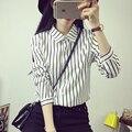 Blusas свободного покроя мода марка весна / осень стиль женщина блузки черные и белые полосы рубашки macacao feminino с длинным рукавом