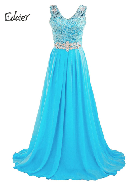 5a1cec0689c6 Edaier Turquoise Bridal Bridesmaid Dress Straps Floor-length Chiffon Sexy A  Line Wedding Guest Party Dresses 2017 For Weddings