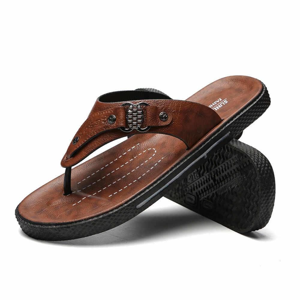 123f31854607 2018 New Summer Men s Shoes Fashion Casual Flat Flip Flops Beach Slippers  For Men Comfortable Beach