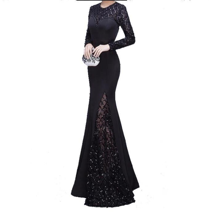 2018 haute qualité paillettes noires sirène manches longues robe de bal robe de paillettes vestidos de fiestas largos elegantes bepeithy
