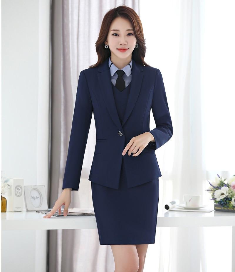 Negro Chaqueta Y Aidenroy Vestido azul Formal Blazer Negocios Para De Mujeres  Traje Conjuntos Elegante Oficina ... 9d2a06162f5