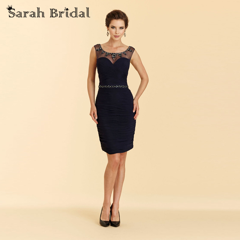 Short Navy Blue Mother Of The Bride Dresses Chiffon Beaded