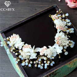 CC Hairbands Crowns Handmade Garland Romantic 2Pcs Sets Earrings Flowers For Bride Wedding Hair Accessories Bijoux Jewelry TS082
