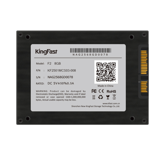 """Kingfast buena plástica de la manera 2.5 """"SATA I/II interna 8 GB MLC SSD Disco Duro de Estado Sólido SSD para el ordenador Portátil PC disco HD"""