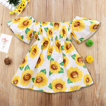 Newest Kids Baby Girl Dress Sunflower Print Off Shoulder Sundress Party Pageant Short Sleeve Tutu Dresses Fashion Clothes 1-4T short sleeve off shoulder blouses for kids tulle polyester sequin party dresses