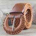 Senhoras das mulheres Cinto Largo Trançado Tecido Pin Buckle Cintura Cinto De Vestido De Couro Do Falso Moda Preto Marrom 200-324