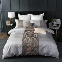 4/7 pièces gris blanc drap de lit taie d'oreiller housse de couette ensemble de luxe 60S coton égyptien reine roi double taille ensemble de literie linge de lit