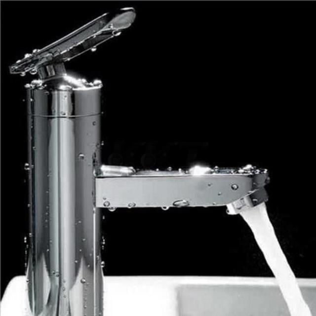 2017 Fashion Style High Quality Brushed Chrome Waterfall Bathroom Basin  Faucet Single Handle Sink Mixer Tap