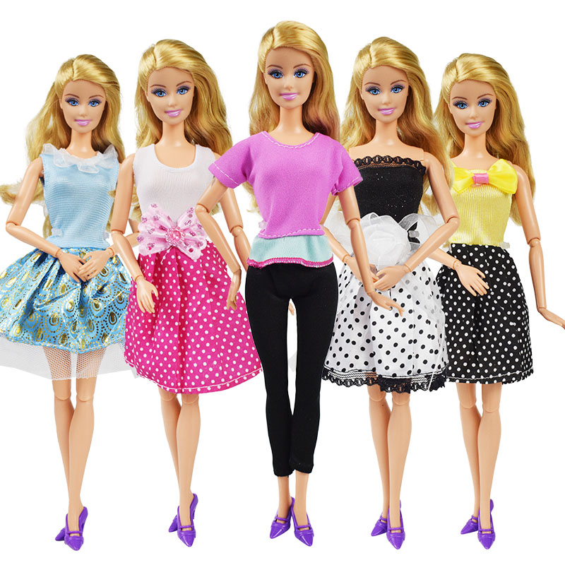 5 Pcs/lot Polka Dot Skirt Yoga Wear Doll Clothes Accessories Homemade Dress Children's Products Girl Toys For Barbie Doll Dress