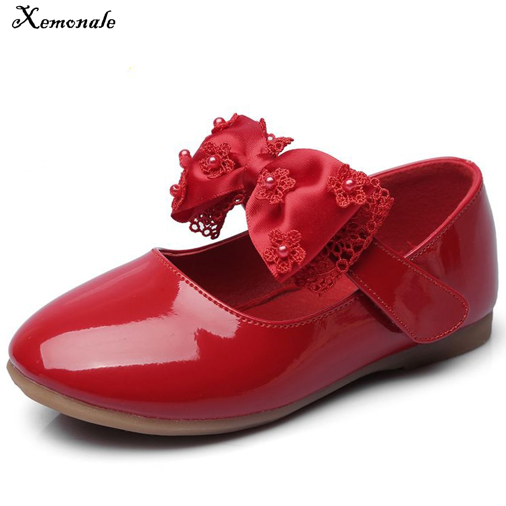 Xemonale Childrens Shoes Girls, Bow Single Shoes Cute Fashion Cow Tendon Bottom Princess Wind Party Girls Leather Shoes.