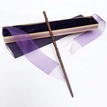 Colsplay chegam novas metal/ferro núcleo hermione varinha/hp magia varinha mágica/elegante fita presente caixa embalagem