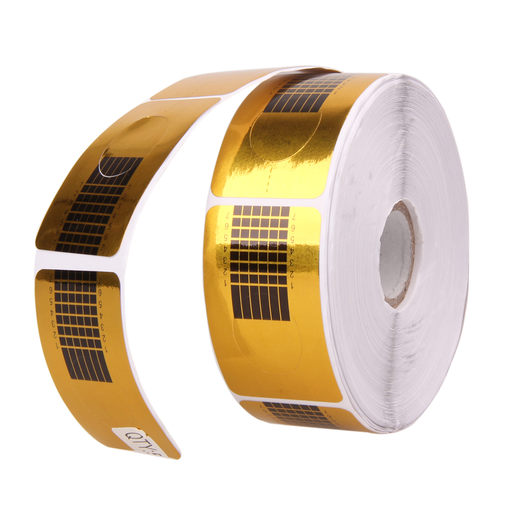 500 Pcs Gold Nail Guide Sticker Tape Nail Art Sculpting Extension Nails Forms Guide Stickers Adhesive Acrylic UV Gel Tips 10 color 20m rolls nail art uv gel tips striping tape line sticker diy decoration 03ik
