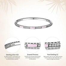 Genuine 925 Sterling Silver Radiant Hearts, Light Pink Enamel & Clear CZ Bangle & Bracelet (3 Color )